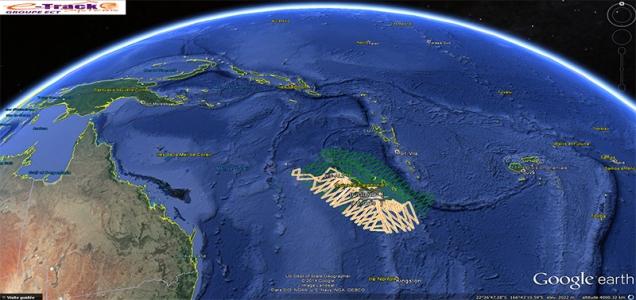 Les traces GPS des avions cumulées depuis le début de la campagne font ressortir les transect déjà réalisés au 28/10/2014. ©Agence des aires marines protégées/observatoire Pelagis – REMMOA 2014