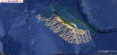 Les traces GPS des avions font ressortir les transect déjà réalisés au 28/10/2014. Ce jour là, les trois avions ont pu voler simultanément. ©Agence des aires marines protégées/observatoire Pelagis – REMMOA 2014