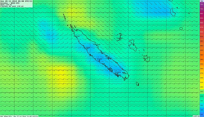 Carte de prévision des vents autour de la Nouvelle-Calédonie pour le 28 novembre 2014 ©Agence des aires marines protégées/observatoire Pelagis – REMMOA 2014