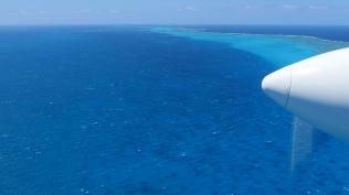 Vues aériennes du lagon et de la barrière. Ces paysages magnifiques ne sont le plus souvent que les 10 premières et 10 ©Agence des aires marines protégées/observatoire Pelagis – REMMOA 2014dernières minutes des longs vols (~7h) océaniques d'observation.