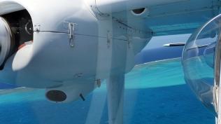 Le flanc du BN-2 avec ses deux hublots bulles, en virage sur fond de barrière. ©Agence des aires marines protégées/observatoire Pelagis – REMMOA 2014