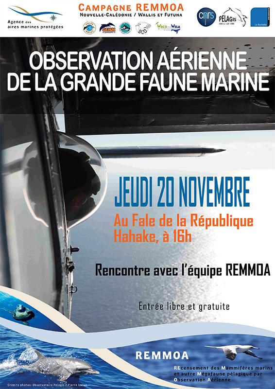 Affiche REMMOA_ReunionPubliqueKoumac ©Agence des aires marines protégées/observatoire Pelagis – REMMOA 2014